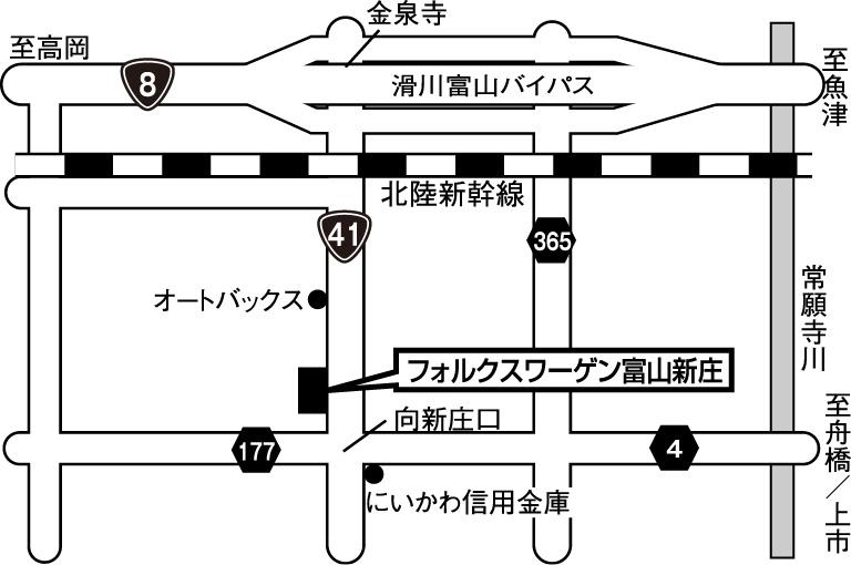フォルクスワーゲン富山新庄地図